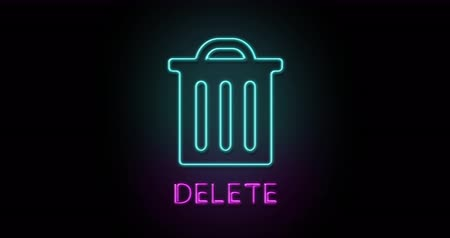 excluir : Colorful neon light glowing icon delete. Object isolated in PNG format with alpha transparency channel background Stock Footage