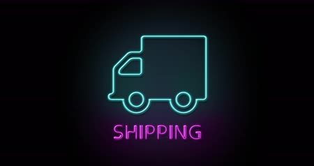 Colorful neon light glow icon shipping delivery truck. Object isolated in PNG format with alpha transparency channel background Stock Footage
