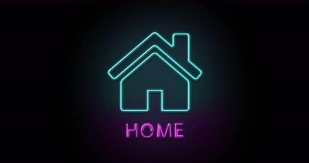Colorful neon light glowing icon home. Object isolated in PNG format with alpha transparency channel background