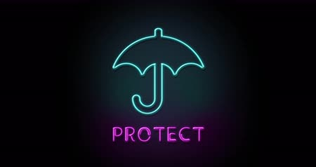 Colorful neon light glowing icon protect umbrella. Object isolated in PNG format with alpha transparency channel background