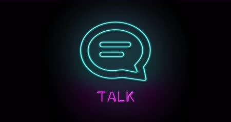 outline : Colorful neon light glowing icon talk communication. Object isolated in PNG format with alpha transparency channel background Stock Footage