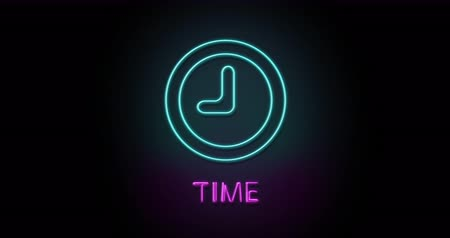 Colorful neon light glowing icon clock time. Object isolated in PNG format with alpha transparency channel background