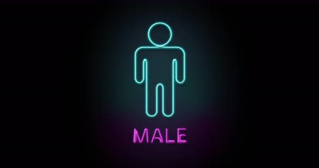 Colorful neon light glowing icon gentle man male. Object isolated in PNG format with alpha transparency channel background
