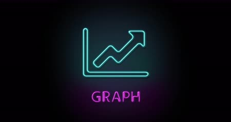 Colorful neon light glowing icon graph chart. Object isolated in PNG format with alpha transparency channel background