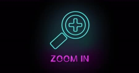 Colorful neon light glowing icon zoom in. Object isolated in PNG format with alpha transparency channel background