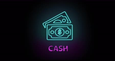 минус : Colorful neon light glowing icon cash. Object isolated in PNG format with alpha transparency channel background Стоковые видеозаписи