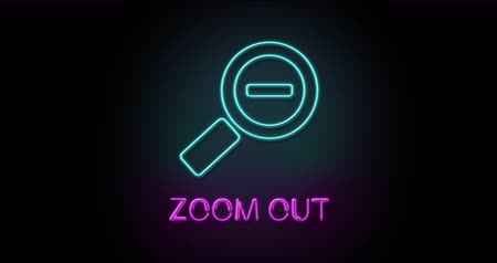 Colorful neon light glowing icon zoom out. Object isolated in PNG format with alpha transparency channel background Stock Footage