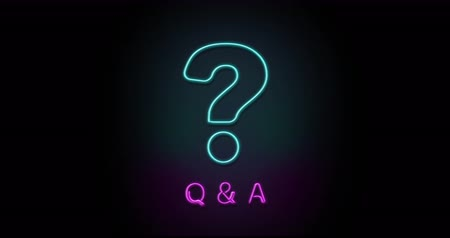 notation : Colorful neon light glowing icon Q & A question. Object isolated in PNG format with alpha transparency channel background Stock Footage