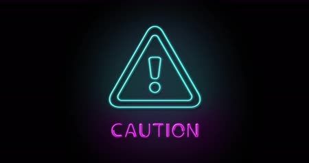 caution sign : Colorful neon light glowing icon caution. Object isolated in PNG format with alpha transparency channel background Stock Footage