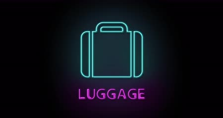 Colorful neon light glowing icon luggage. Object isolated in PNG format with alpha transparency channel background