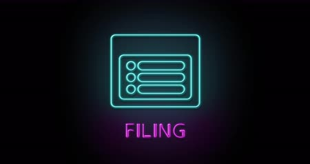 Colorful neon light glowing icon filing document. Object isolated in PNG format with alpha transparency channel background