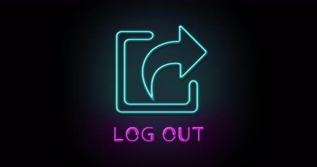 Colorful neon light glowing icon log out. Object isolated in PNG format with alpha transparency channel background