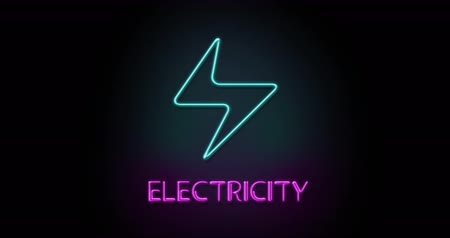 szavak : Colorful neon light glowing icon electricity. Object isolated in PNG format with alpha transparency channel background Stock mozgókép