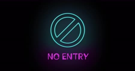 Colorful neon light glowing icon no entry. Object isolated in PNG format with alpha transparency channel background
