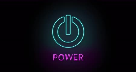 Colorful neon light glowing icon engine power. Object isolated in PNG format with alpha transparency channel background