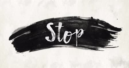 speck : Ink wash watercolor brush stroke texture background slogan text Stop
