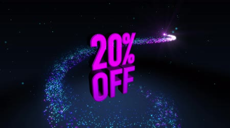kortingen : Magic shinning deeltje cirkel parcours en 3D-banner tekst 20% KORTING Stockvideo