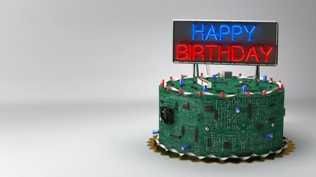 cakes : Birthday cake for geeks with neon sign. Stock Footage