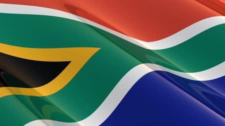 délre : Flag of South Africa waving in the wind, glossy - seamless loop Stock mozgókép