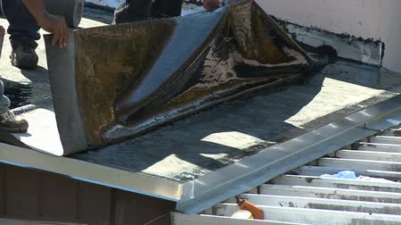 zastřešení : Roofers installing top layer on flat roof