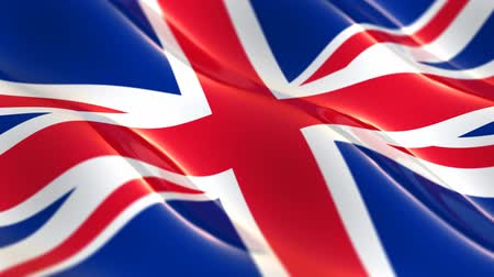 büyük britanya : Flag of the United Kingdom of Great Britain waving in the wind - seamless loop Stok Video