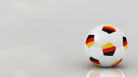 futbol topu : Very highly detailed German soccer ball rotating over bright glossy surface - seamless looping Stok Video