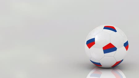 orbe : Very highly detailed Russian soccer ball rotating over bright glossy surface - seamless looping Stock Footage