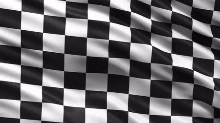 bandeira : Loop ready racing flag waving in the wind