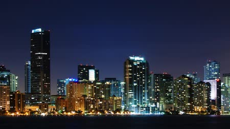 night scene : Time lapse of Miami skyline at night