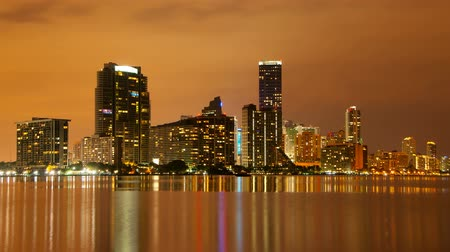night scene : Time lapse of the Miami skyline at dusk