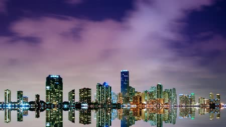 night scene : Time lapse Miami skyline at night