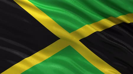 jamaica : Flag of Jamaica waving in the wind - seamless loop