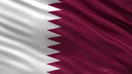 bandeira : Flag of Qatar gently waving in the wind. Seamless loop with high quality fabric material.