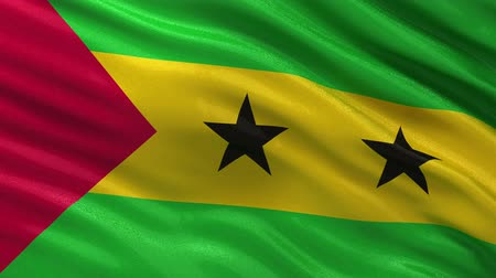 tome : Flag of Sao Tome and Principe gently waving in the wind. Seamless loop with high quality fabric material. Stock Footage
