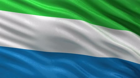 sierra leone flag : Flag of Sierra Leone gently waving in the wind. Seamless loop with high quality fabric material.