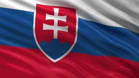 bandeira : Flag of Slovakia gently waving in the wind. Seamless loop with high quality fabric material.