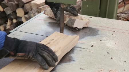 velo : Worker cutting beech wood plank into pieces with a band saw for fireplace Stock Footage
