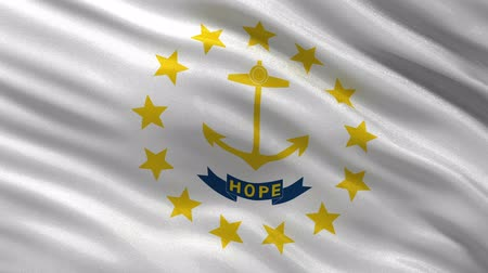 rhode : US state flag of Rhode Island gently waving in the wind. Seamless loop with high quality fabric material. Stock Footage