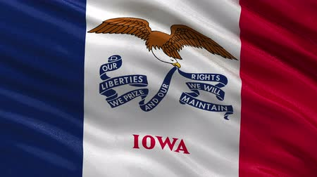 iowa : US state flag of Iowa gently waving in the wind. Seamless loop with high quality fabric material.