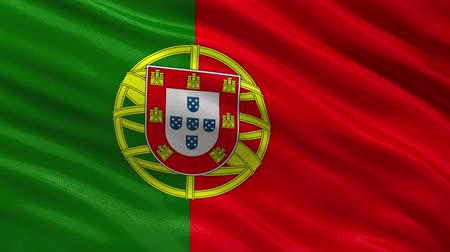 portugalsko : Flag of Portugal gently waving in the wind. Loop ready file with high quality fabric material