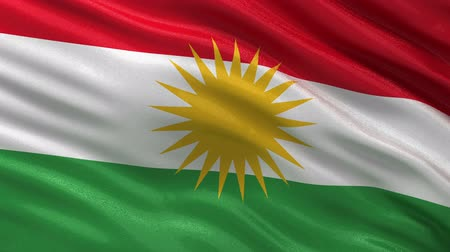 kurdistan : Flag of Kurdistan gently waving in the wind. Loop ready file with highly detailed fabric texture. Stock Footage