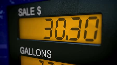 pompki : Zoom in on gas pump display with rising numbers starting at 28