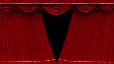 fama : 4K high detail red velvet theater curtain opening with alpha matte.