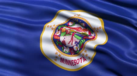 bez szwu : Realistic Ultra-HD Minnesota state flag waving in the wind. Seamless loop with highly detailed fabric texture. Loop ready in 4k resolution.