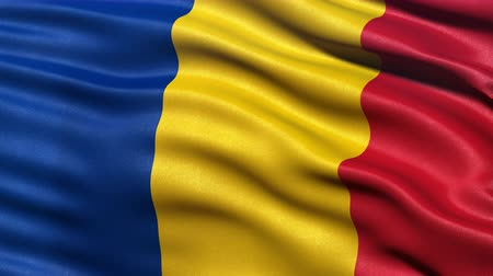 romeno : Realistic flag of Romania waving in the wind. Seamless loop with highly detailed fabric texture. Loop ready in 4K resolution.