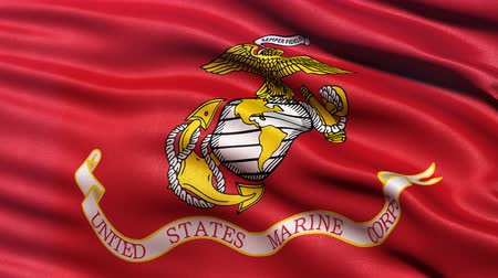 4K United States of America Marine Corps flag waving in the wind. Seamless loop with highly detailed fabric texture.