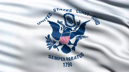 veteran's day : United States of America Coast Guard flag waving in the wind. Seamless loop with highly detailed fabric texture.