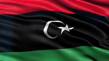 Seamless loop of flag of Libya waving in the wind with highly detailed fabric texture. Stock Footage