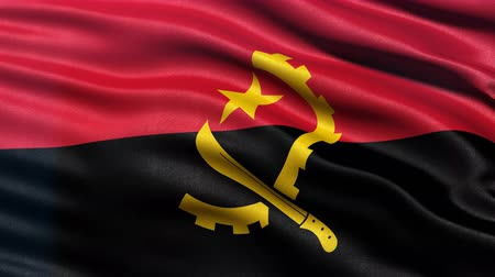 Seamless loop of flag of Angola waving in the wind with highly detailed fabric texture. Stock Footage