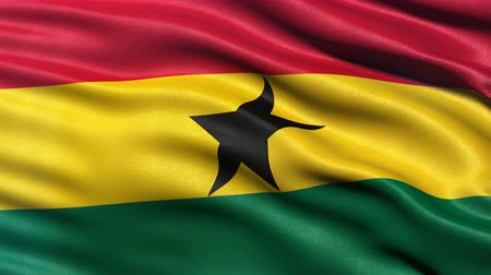 Seamless loop of flag of Ghana waving in the wind with highly detailed fabric texture. Stock Footage